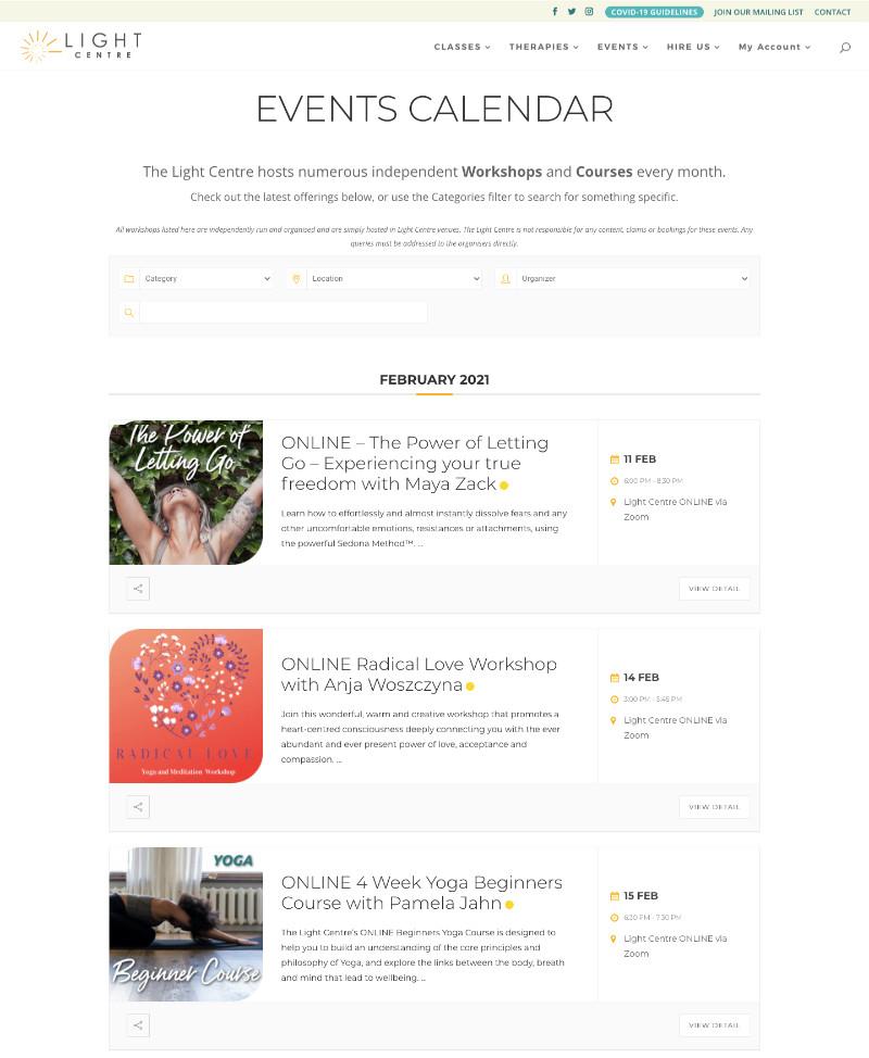 Light Centre Events Calendar